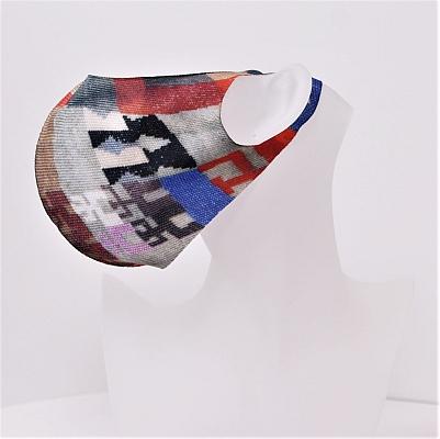 Mund und Nasen-Bedeckung nach Sophie Taeuber-Arp in grau/blau